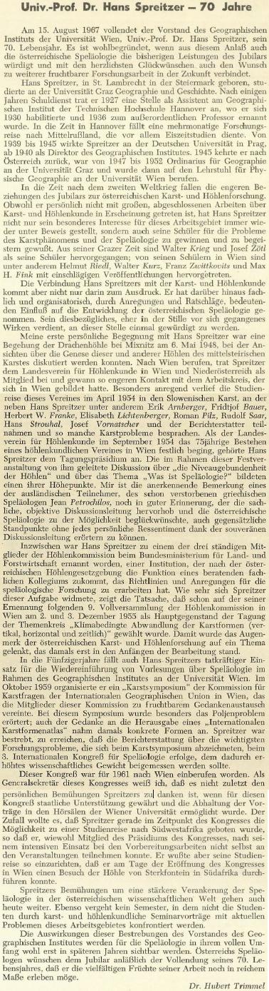 Pozdrav k sedmdesátinám na stránkách spolkového zpravodaje rakouských speleologů