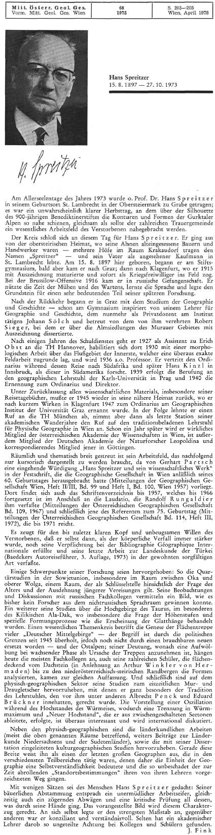 Nekrolog na stránkách Mitteilungen der Österreichischen Geographischen Gesellschaft