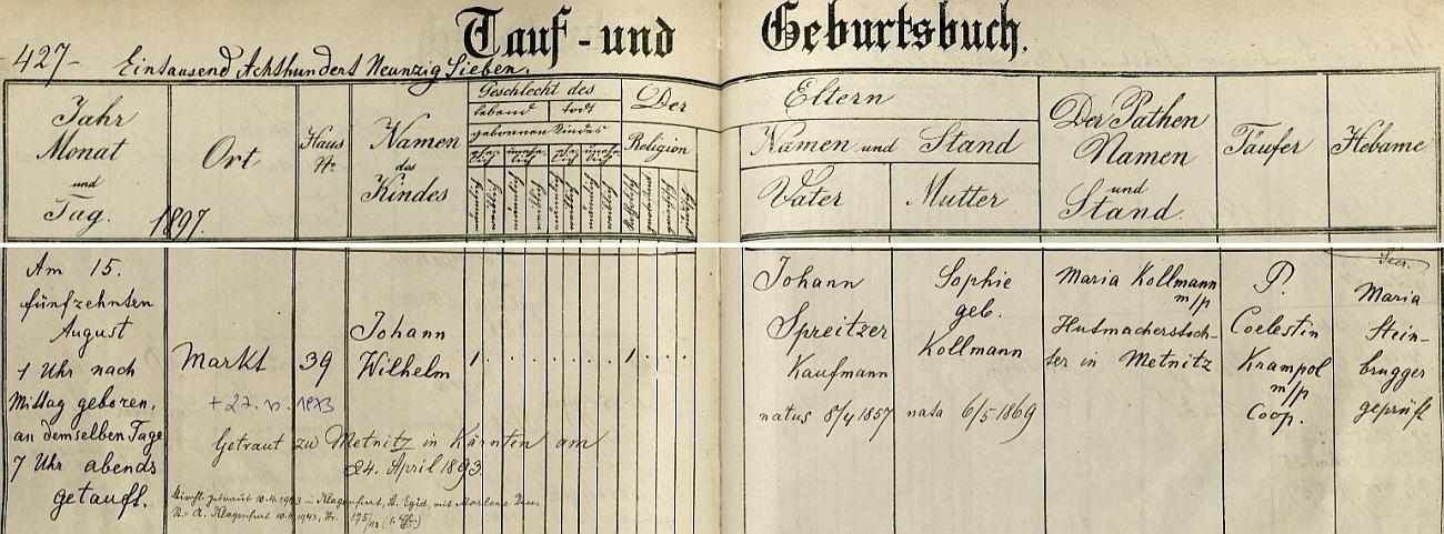 Záznam o jeho narození v křestní matrice městyse Sankt Lambrecht ve Štýrsku