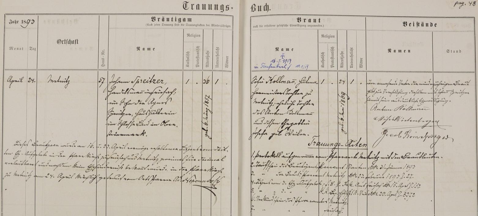 Záznam o svatbě rodičů v knize oddaných korutanské farní obce Metnitz