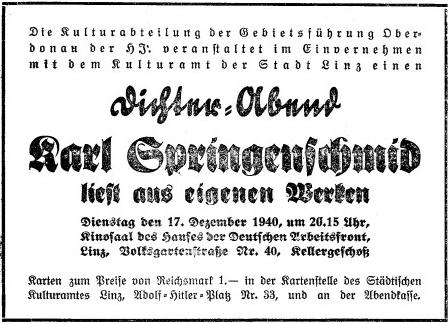 Pozvánka k jeho autorskému čtení v Linci roku 1940 od územního vedení Hitlerjugend župy Oberdonau, kam tehdy příslušela jižní Šumava