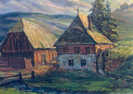 """""""Michlmühle bei Helmbach"""", olejomalba, na níž Ernst Springer zachytil kus zaniklé Šumavy"""