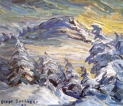 "Olejomalba Ernsta Springera s názvem ""Arber im Winter"", tj. ""Hora Javor v zimě"""