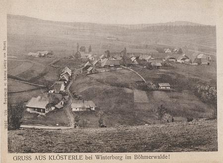 Rodný Klášterec Ernsta Springera, později částečně zničený kvůli zřízení vojenské střelnice, na staré pohlednici