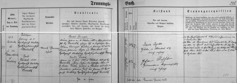 Záznam vimperské oddací matriky o svatbě rodičů jejího manžela v září roku 1913