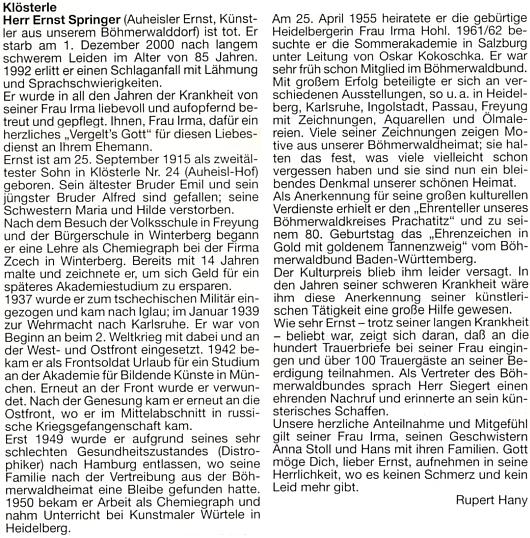 Nekrolog Ernsta Springera od Ruperta Hanyho na stránkách krajanského měsíčníku