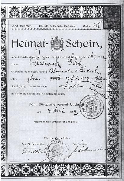 Jeho domovský list s podpisem Taschekovým