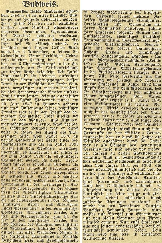 Opravdu obsáhlý nekrolog v českobudějovickém německém listě provází výčet staveb, kterými obohatil své rodné město