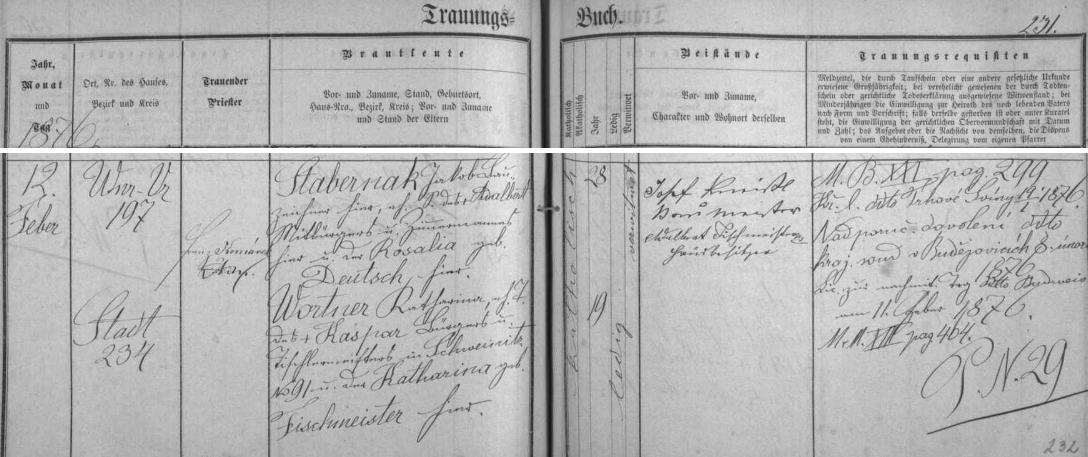 V roce 1876 se podle tohoto záznamu českobudějovické oddací matriky oženil podruhé - nevěsta Katharina Wortnerová byla o 9 let mladší