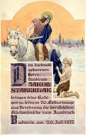Pozdrav kolegů k jeho životnímu jubileu, zdobený anonymní malbou s motivem sv. Martina a města Českých Budějovic v pozadí