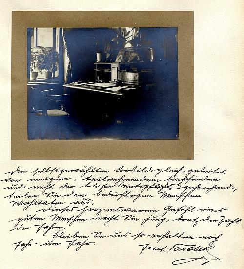 Vlastnoruční blahopřání Josefa Tascheka ke Stabernakovým sedmdesátinám