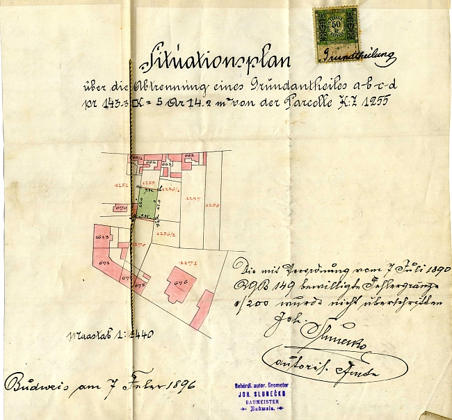 Situační plánek parcely jeho domu v Riegrově ulici 1802/13, který vyhotovil Johann Slunečko, provází kupní smlouvu z února roku 1896