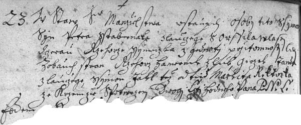 """Český záznam křemžské oddací matriky nás barokním ještě jazykem zpravuje o tom, že tu jako jeho nejstarší doložení předkové dne 23. února roku 1710 ve stav svátostného """"manželstwa"""" vstoupily """"osoby tyto: Ssymon, syn Petra Sstabernaka z Lauczege"""", tj. z Loučeje, """"s Orssilau"""", tj. s Voršilou, """"wlasny dczerau Rzehorze Ssymeczka zGednoty"""", tj. Šimečka z Jednoty, za """"przitomnosti lidj z obauch stran"""", rozuměj svědků, jimiž byli: Rzehorz Hamernik z Lúk, Girzik Janda z Lauczege, Ssymon Jakl tež odtud, Markita Riktorka ze Krzemzie"""", nechybí ovšem """"potwrzeni Dwogi Cztihodneho P.N.C."""" (tj. """"Patera Nywarda Cremssensis"""")"""
