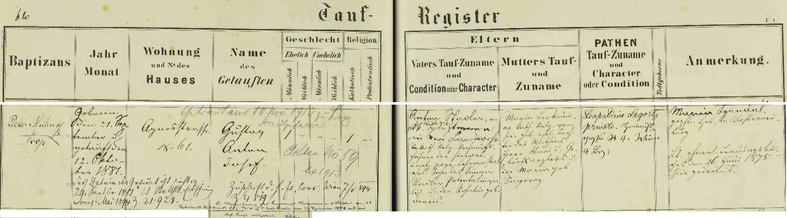 Záznam o jeho narození v křestní matrice dolnorakouského města Klosterneuburg