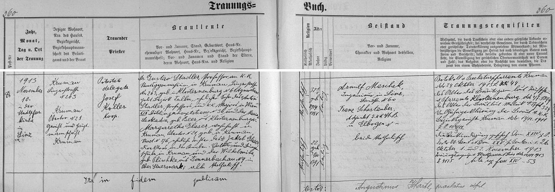 Záznam českokrumlovské oddací matriky o jeho svatbě v listopadu roku 1913 v rakouském Linci