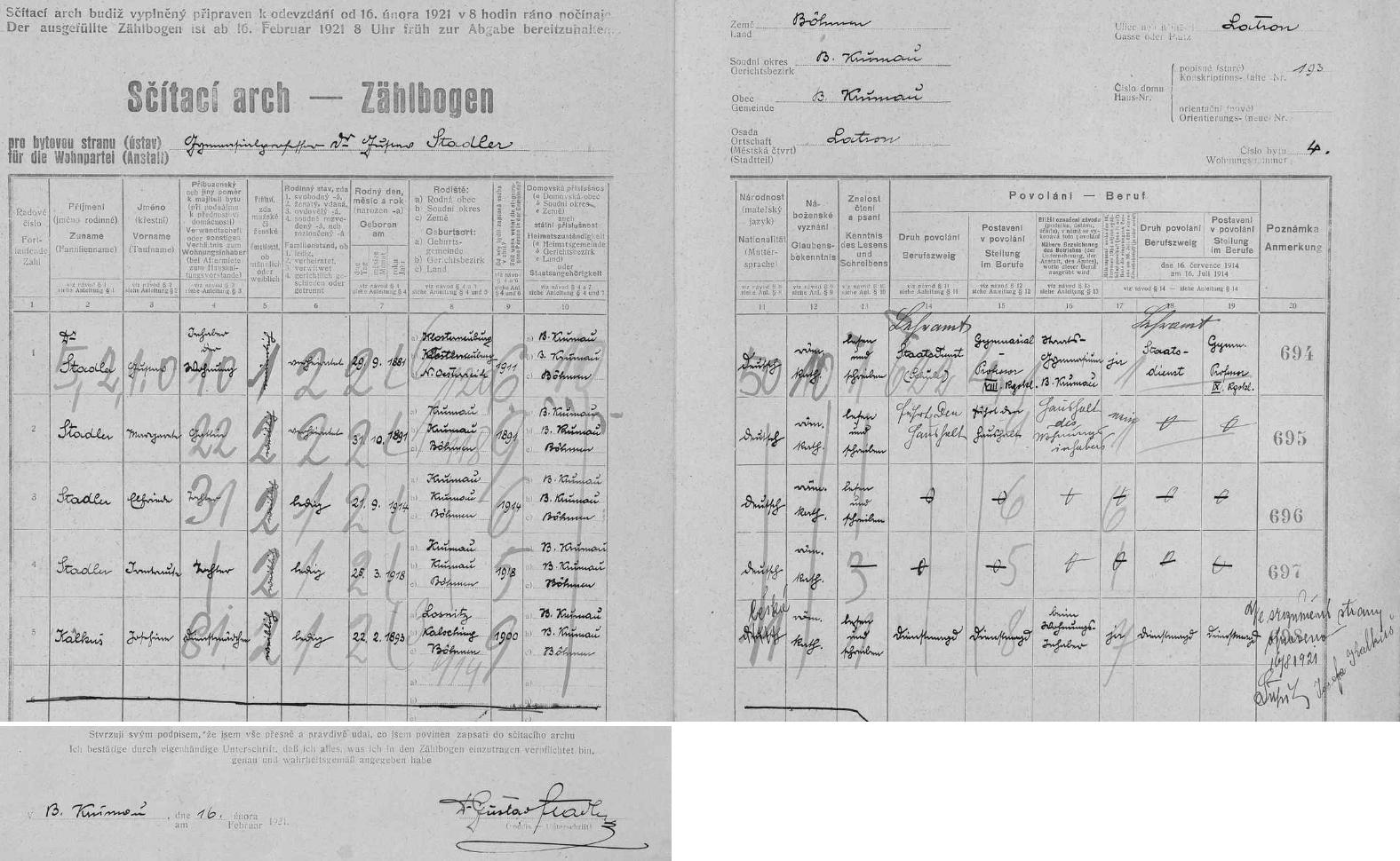 Arch sčítání lidu z roku 1921 pro byt číslo 4 v domě čp. 193 na českokrumlovském Latráně s rodinou Stadlerovou
