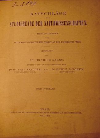 Spolupracoval na novém vydání rádce pro studující přírodních věd z roku 1912, který se dodnes objevuje v antikvární nabídce