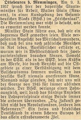 """Krajanský měsíčník tu referuje o jeho projevu v roli bavorského státního ministra práce, kde se dotkl otázky sociálního postavení vyhnanců, nebezpečí bolševismu ipoválečných hranic Německa, """"s nimiž se nelze natrvalo spokojit"""" a spojil s tím otázku míru abezpečnosti Evropy"""