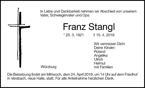 Parte a smuteční oznámení městského dopravního podniku ve Würzburgu