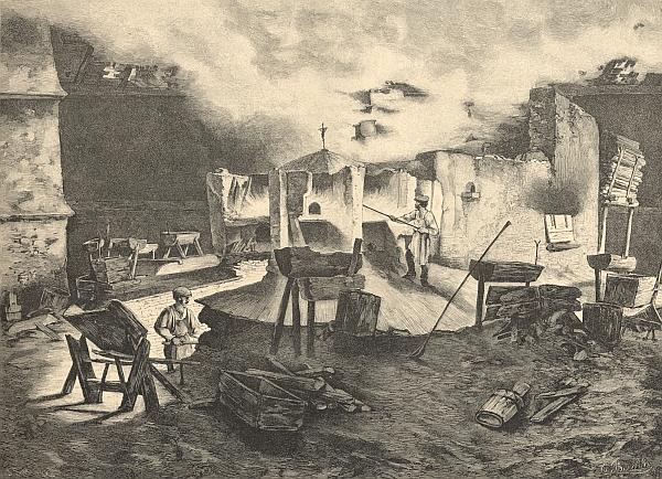 Interiér skelné huti v Černém Údolí na ilustraci Vojtěcha Brechlera k věhlasné Ottově edici Čechy