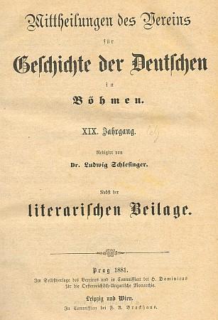 Titulní list (1881) časopisu s jeho nekrologem