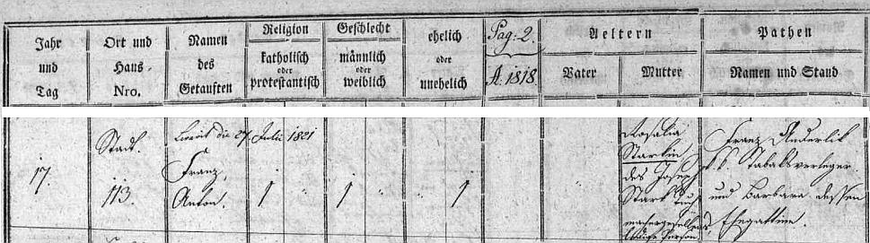 """Záznam v českokrumlovské matrice narozených ze 17. ledna 1818 neuvádí otce dítěte, které dostalo křestní jména Franz aAnton, jen jeho matku Rosalii """"Starkin"""", dceru Josepha Starka"""