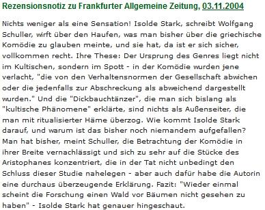 ... a její recenze v respektovaném deníku FAZ (Frankfurter Allgemeinde Zeitung)