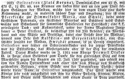 Zmínka o jeho zlatokorunské továrně ve statistickém a topografickém popisu Království českého