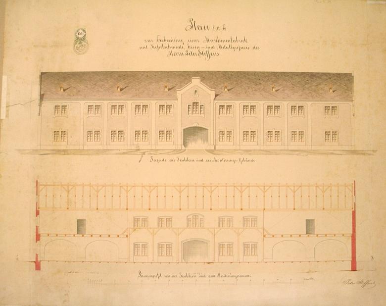 Plány na výstavbu nové Steffensovy továrny zřejmě v Českých Budějovicích asi z roku 1870, k realizaci nedošlo