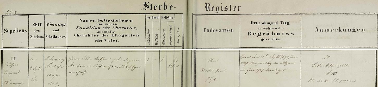 Záznam o jeho skonu v knize zemřelých dolnorakouského městyse Maria Enzersdorf