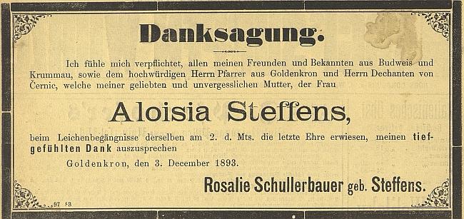 Poděkování jeho dcery Rosalie, manželky Franze Schullerbauera, za projevy účasti po matčině skonu