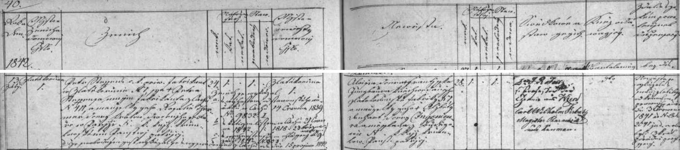 Česky psaný záznam o jeho svatbě ve zlatokorunské oddací matrice