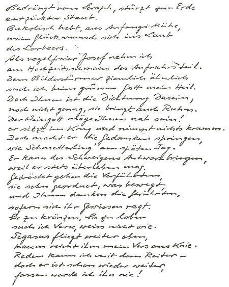 Rukopis jeho básně, věnované v roce 1962 Wilhelmu Lehmannovi (1882-1968) k jeho osmdesátinám (významný autor byl rodákem z Venezuely, kde jeho otec působil jako obchodník)