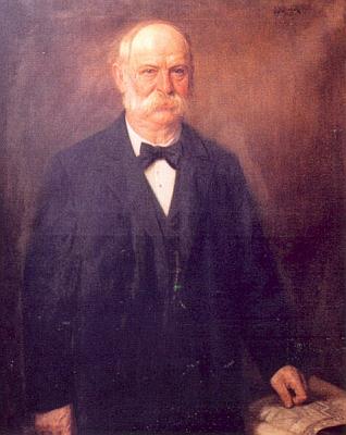 Zakladatel firmy Johann Stegmann (1823-1905) naportrétu zgalerie starostů města