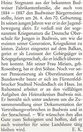 Pozdrav k jeho sedmdesátinám, jehož autorem je zřejmě Eduard Kneissl, na stránkách krajanského měsíčníku