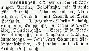 Zpráva o svatbě jeho rodičů v prosinci 1922 na stránkách budějovického německého tisku...
