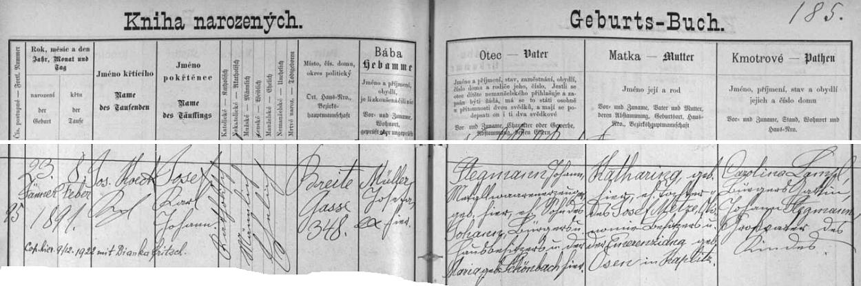 Záznam o narození jeho otce v českobudějovické křestní matrice
