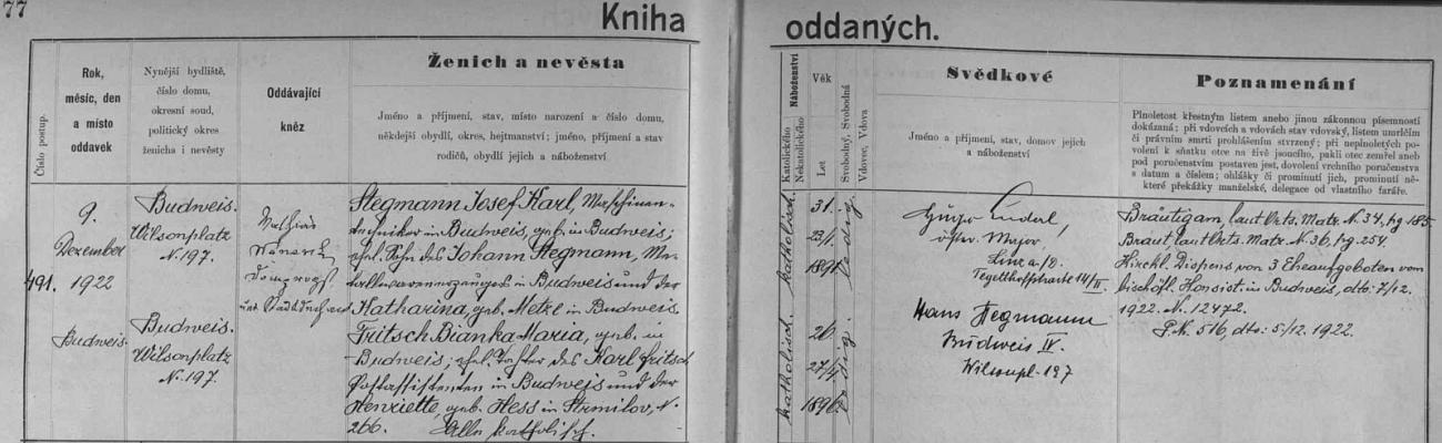 """... a záznam o ní v českobudějovické """"Knize oddaných""""..."""
