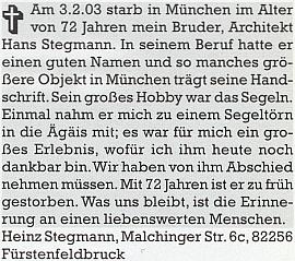 Tímto nekrologem se v měsíčníku Hoam! rozloučil s bratrem, významným mnichovským architektem...