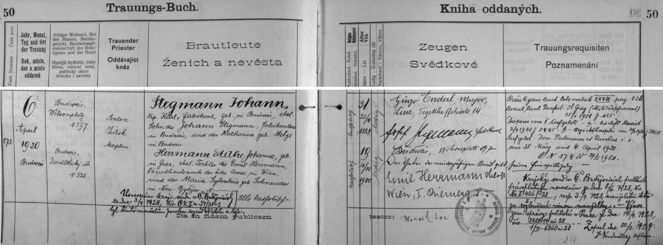 """Manželství otcova bratra Johanna, uzavřené v dubnu roku 1920, bylo v září 1928 rozvedeno """"vinou manželky"""", které bylo při svatbě 19 let a byla o 12 let mladší svého muže - navíc byla dcerou vysokého důstojníka rakouské, tedy už """"zahraniční"""" armády"""