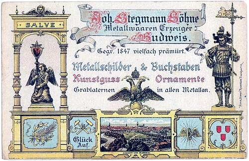 """Firemní pohlednice Stegmanna """"a synů"""""""
