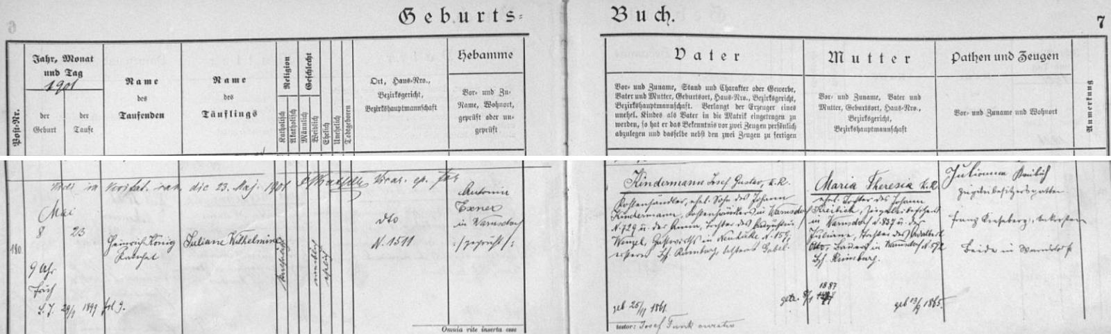 Záznam o narození matčině ve varnsdorfské křestní matrice (záznam o narození otce viz Otto Stegmann)