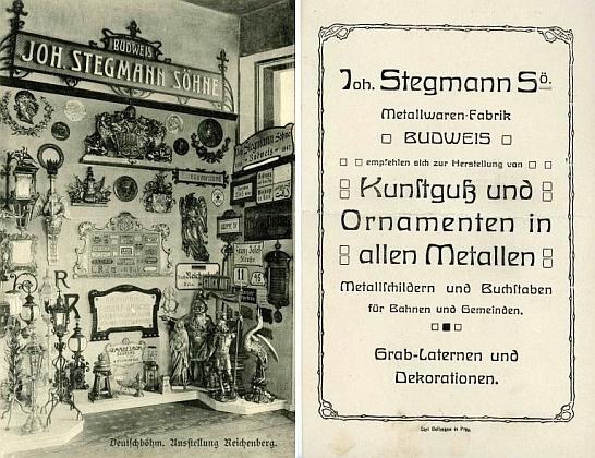 Propagační leták Stegmannovy továrny na Německo-české výstavě v Liberci roku 1906