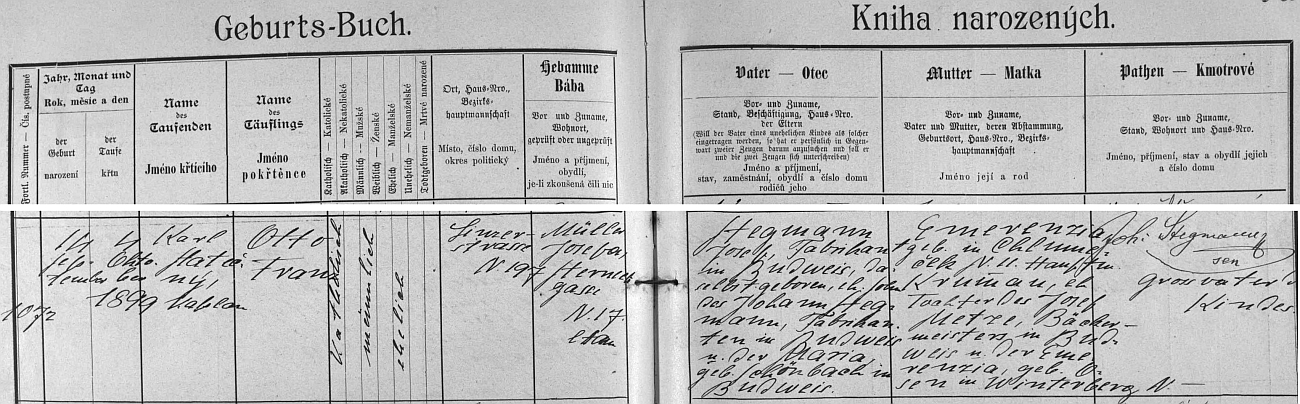 Záznam o jeho narození v křestní matrice u sv. Mikuláše (záznam o narození jeho první ženy viz Erika Stegmannová)
