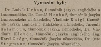 Teprve v roce 1947 byl oficiálně vymazán ze seznamu stálých soudních tlumočníků