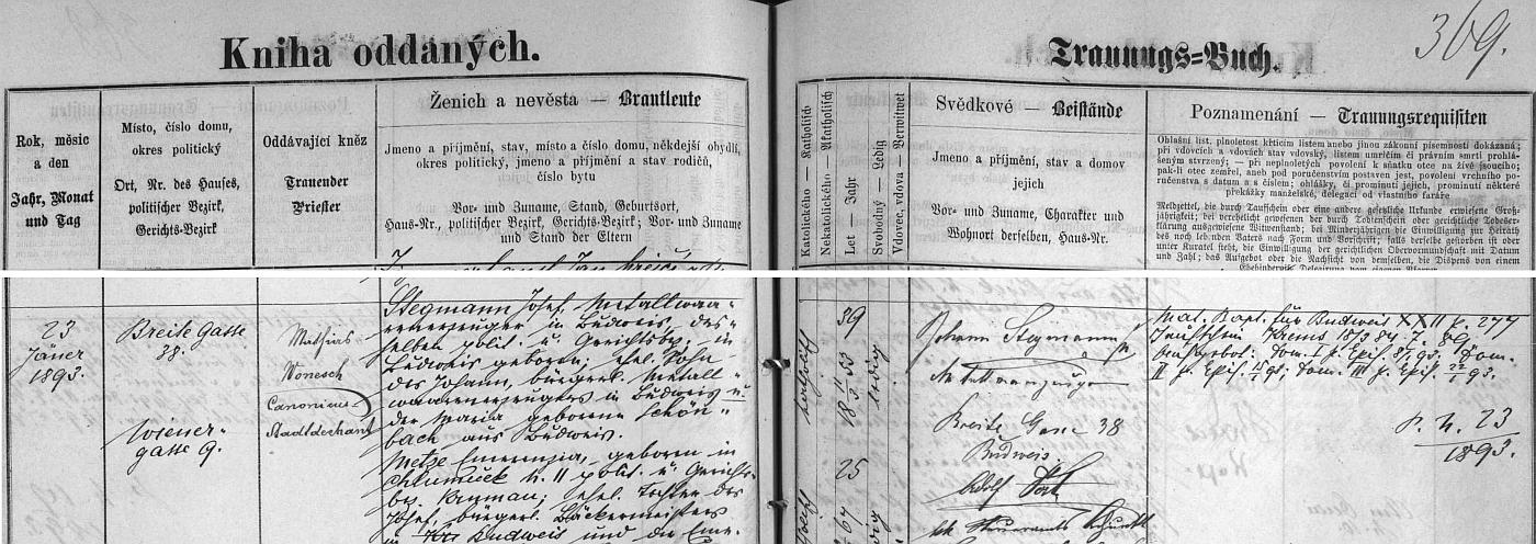 Záznam o svatbě rodičů v českobudějovické knize oddaných