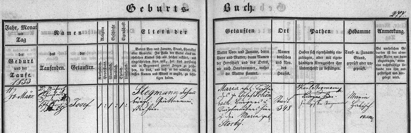 Záznam o narození otcově v českobudějovické křestní matrice
