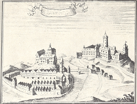 Jeho rodný Rožmberk nad Vltavou podle rytiny Johanna Georga Mauritia Vogta (1669-1730)