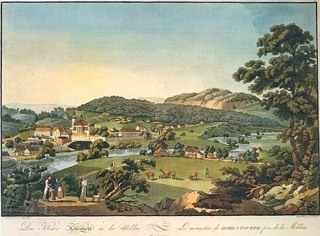 Kolorovaná rytina, jejíž autor Laurenz Janscha (1749-1812) zachytil klášter ve Vyšším Brodě někdy v době kolem roku 1790