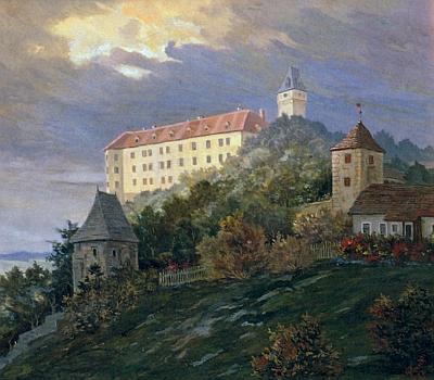 Vimperský zámek na jeho olejomalbě